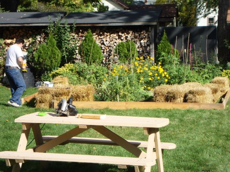Straw bales and repurposed boards