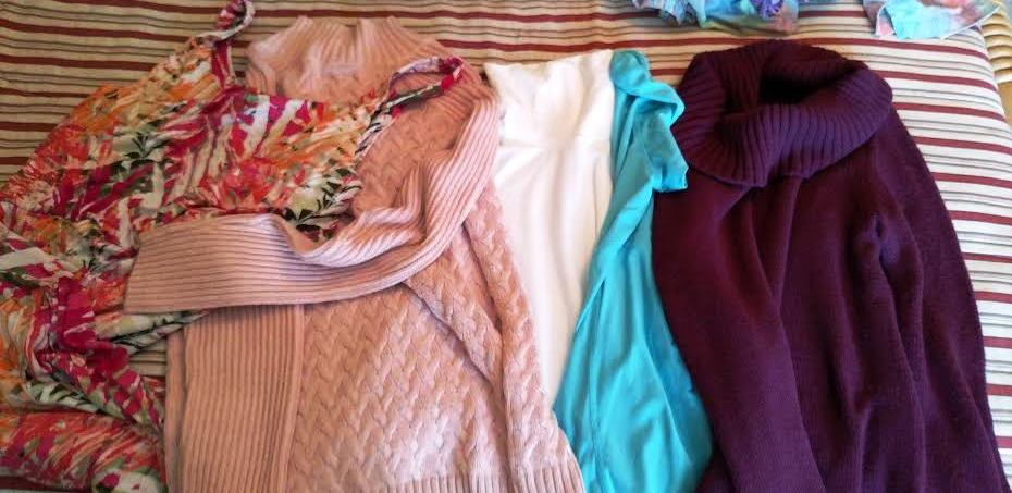 Two sweaters, two shirts, and a dress