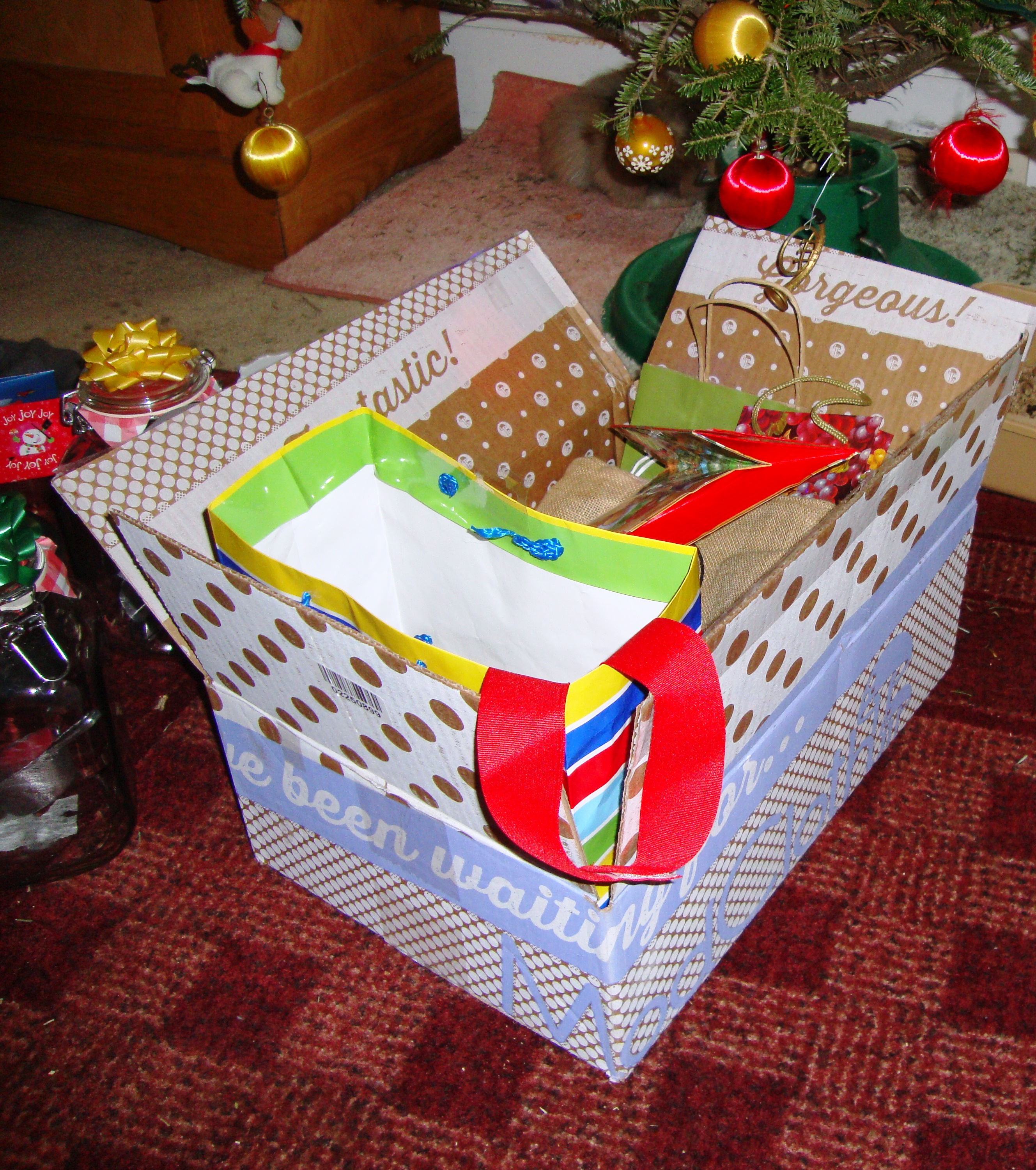 cute box filled with gift bags